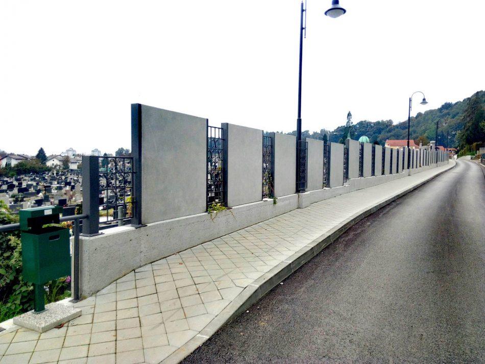 Ograda na potpornim zidovima RKT groblja na Dubovcu – Nemčićeva ulica, Karlovac